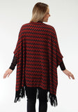 WOMENS RED AND BLUE CHEVRON PRINT PONCHO