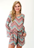 WOMENS MULTICOLORED AZTEC CHEVRON PRINT LONG SLEEVE ROMPER'