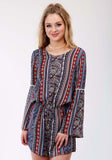 WOMENS MULTICOLORED PAISLEY STRIPE ROMPER