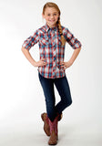 GIRLS BLUE RED AND WHITE PLAID LONG SLEEVE WESTERN SNAP SHIRT