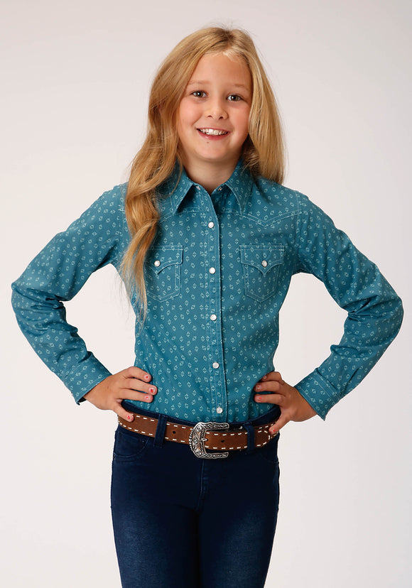 GIRLS BLUE AND WHITE GEO PRINT LONG SLEEVE SNAP WESTERN SHIRT