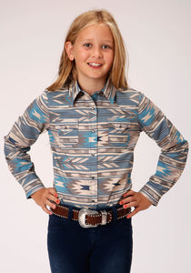 GIRLS TURQUOISE TAN AND BLUE AZTEC PRINT LONG SLEEVE SNAP WESTERN SHIRT