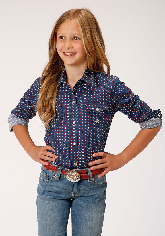 GIRLS BLUE AND WHITE FOULARD PRINT LONG SLEEVE SNAP WESTERN SHIRT