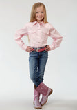 GIRLS PINK SOLID LONG SLEEVE WESTERN SNAP SHIRT