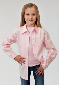GIRLS PINK SOLID LONG SLEEVE WESTERN BUTTON SHIRT