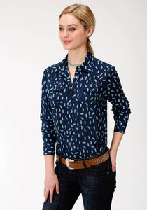 GIRLS BLUE FEATHER PRINT LONG SLEEVE WESTERN SHIRT