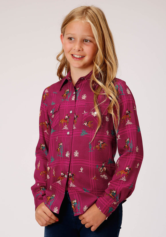 GIRLS RED RETRO COWBOYS PRINT LONG SLEEVE WESTERN SHIRT