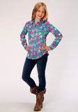 GIRLS BLUE PINK AND GREEN CACTUS PRINT LONG SLEEVE WESTERN SHIRT