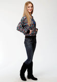 WOMENS BLACK FLOWER PRINT BOMBER JACKET