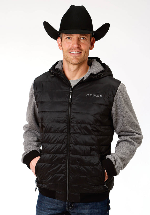 MENS BLACK RIPSTOP POLY FILLED JACKET