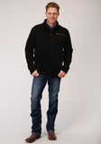 MENS BLACK MICRO FLEECE  3/4 ZIP PULLOVER
