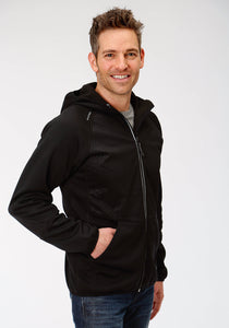 MENS BLACK BONDED INTERLOCK FLEECE JACKET