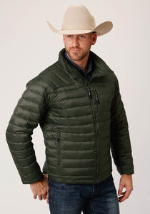 MENS GREEN PARACHUTE DOWN FILLED  ZIP FRONT JACKET