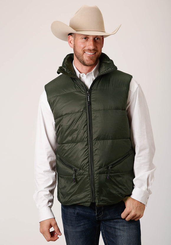MENS GREEN PARACHUTE DOWN FILLED  ZIP FRONT VEST