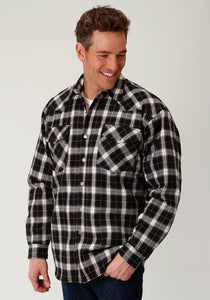 MENS BLACK AND CREAM PLAID QUILT LINED SNAP WESTERN SHIRT JACKET - TALL FIT