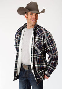 MENS GREY NAVY AND BROWN PLAID SHERPA LINED FLANNEL SNAP WESTERN SHIRT TALL FIT