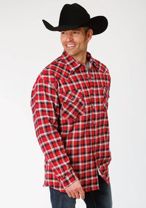 MENS NAVY RED AND WHITE PLAID FLANNEL SHERPA LINED SNAP WESTERN SHIRT JACKET - TALL FIT