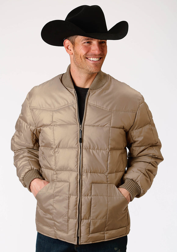 MENS KHAKI POLY-FILLED JACKET