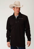 MENS  BLACK SOFTSHELL WITH BLACK FLEECE LINING ZIP FRONT JACKET
