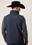 MENS TEXTURED BLUE SOFTSHELL WITH BLUE LINING ZIP FRONT VEST