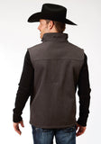 MENS GREY TEXTURED AND SOLID BLACK BONDED SOFTSHELL VEST
