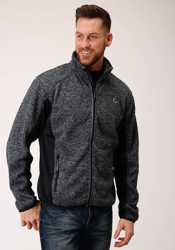 MENS BLACK AND GRAY PIECED SWEATER KNIT  ZIP FRONT JACKET