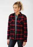 WOMENS BLACK POLY/FLANNEL REVERSIBLE BUTTON FRONT JACKET