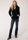 WOMENS BLACK 2 SIDED FUZZY FLEECE  ZIP FRONT JACKET