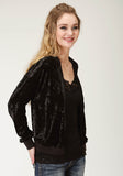 WOMENS SOLID BLACK CRUSHED VELVET BOMBER JACKET