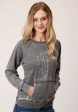 WOMENS GRAY BURNOUT WITH CACTUS SCREEN PRINT SWEATSHIRT