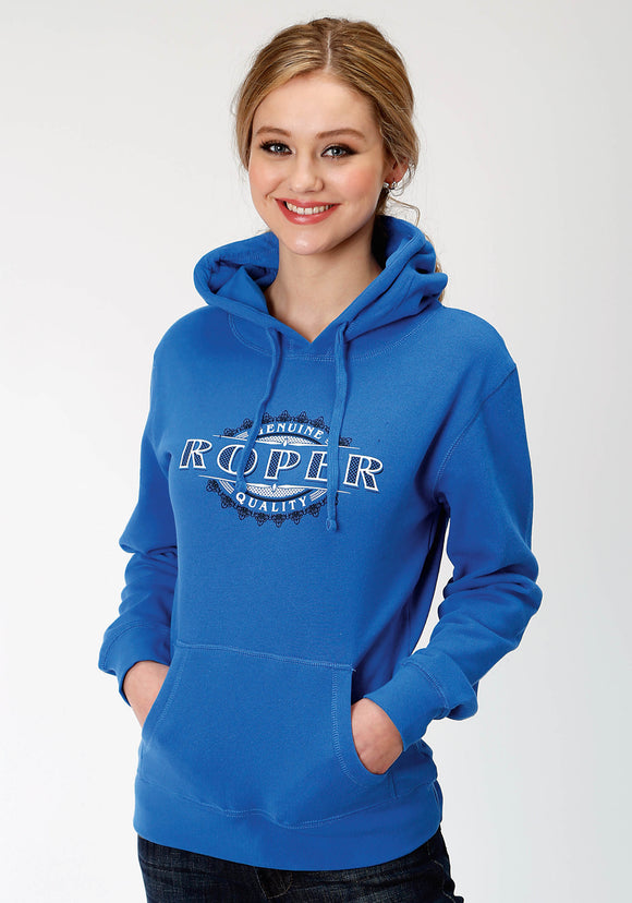 WOMENS BLUE SOLID WITH ROPER SCREEN PRINT HOODED SWEATSHIRT