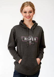 WOMENS GREY SOLID WITH ROPER SCREEN PRINT HOODED SWEATSHIRT