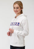 WOMENS WHITE SOLID WITH ROPER SCREEN PRINT HOODED SWEATSHIRT