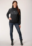 WOMENS GRAY ROPER WEAR THE WEST SCREEN PRINT HOODED SWEATSHIRT
