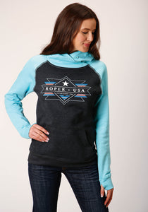WOMENS BLUE ROPER USA AZTEC DESIGN HOODED SWEATSHIRT