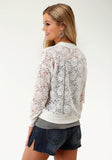 WOMENS WHITE LACE  BOMBER JACKET