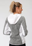 WOMENS BLACK AND WHITE SWEATER KNIT JACKET