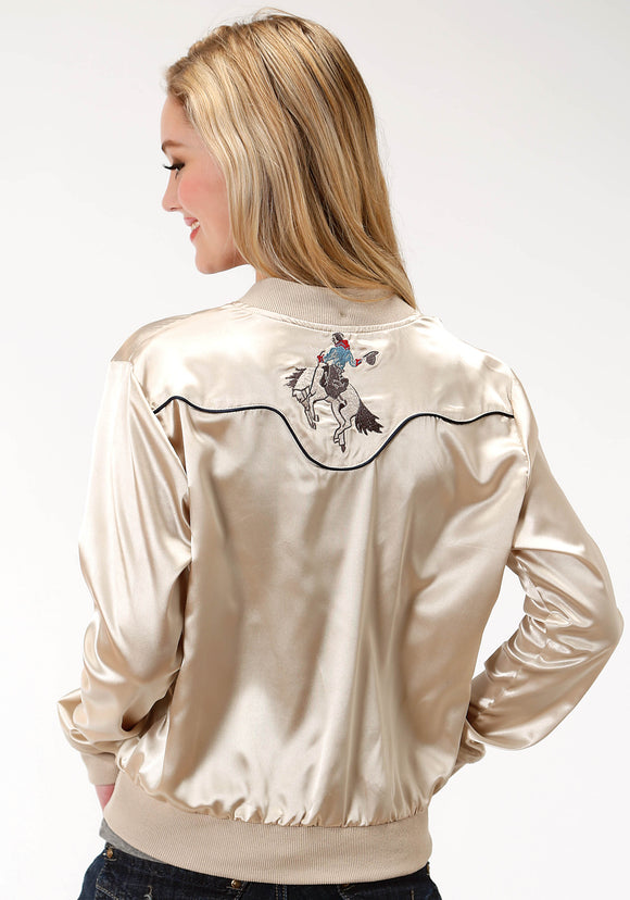 WOMENS WHITE SATIN WITH EMBROIDERY BOMBER JACKET