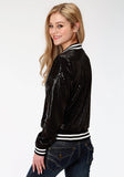 WOMENS SOLID BLACK SEQUIN BOMBER JACKET