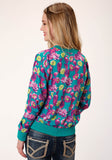 WOMENS TURQUOISE PINK AND YELLOW FLORAL PRINT ZIP FRONT JACKET