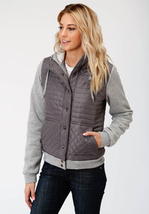 WOMENS GREY QUILTED MICRO FIBER SNAP FRONT JACKET
