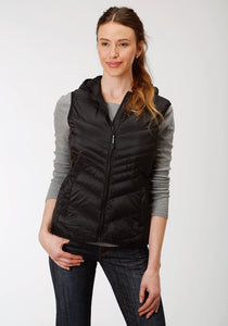 WOMENS BLACK DOWN HOODED VEST