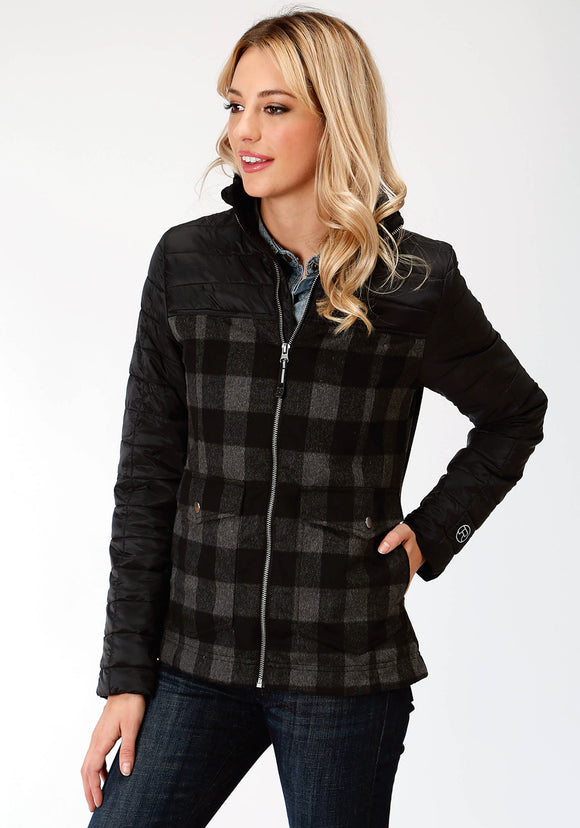 WOMENS BLACK NYLON SOLID AND WOOL PLAID COMBO JACKET