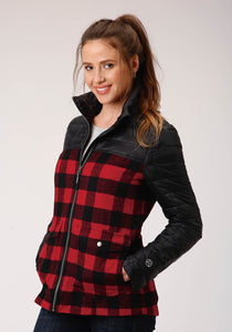WOMENS BLACK POLY FILLED CRUSHABLE  ZIP FRONT JACKET