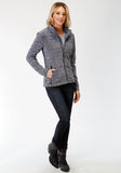WOMENS NAVY MICRO FLEECE JACKET