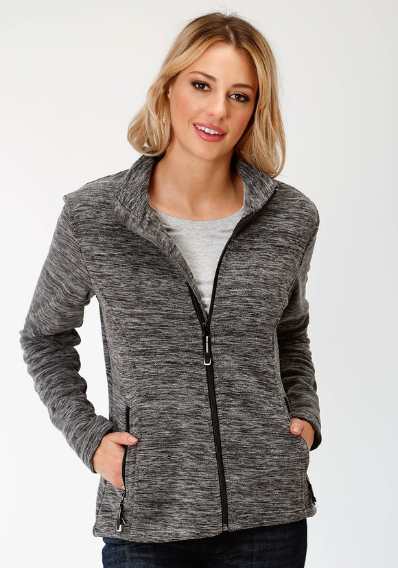 WOMENS BLACK AND WHITE MICRO FLEECE JACKET