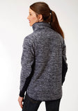 WOMENS NAVY MICRO FIBER FLEECE JACKET
