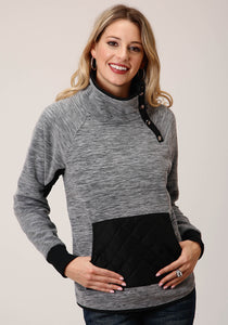WOMENS HEATHERED GREY FLEECE PULLOVER