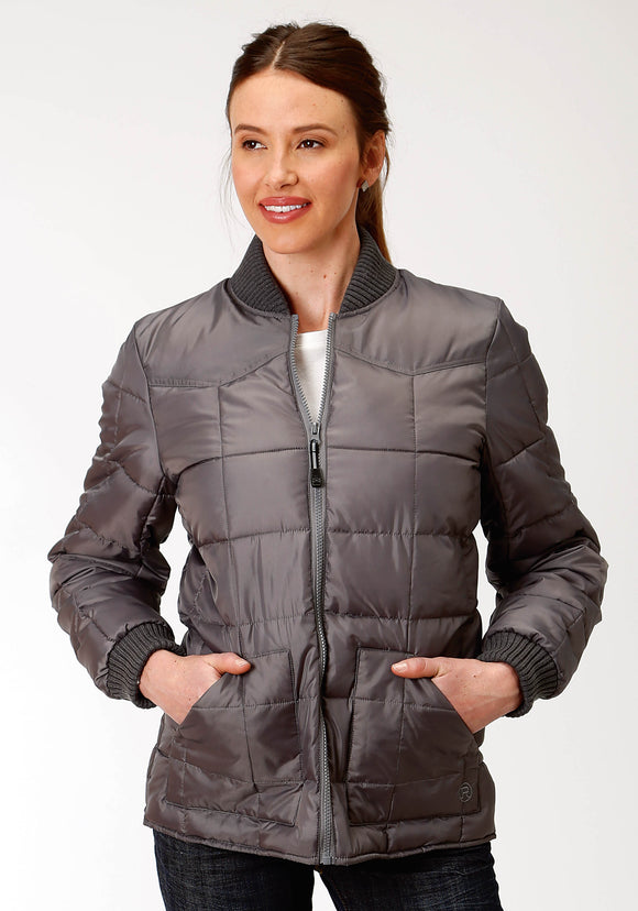 WOMENS GREY POLY-FILLED JACKET