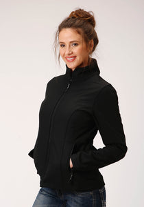 WOMENS BLACK SOFTSHELL WITH BLACK LINING ZIP FRONT JACKET